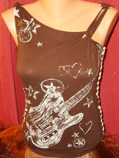Brown Rocker Chick Guitar Remade Altered Refashioned Custom Tee - Medium.