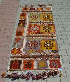 Turkish Kilim Hand Woven Rug Runner Carpet 87 by TurkishCraftsArts, $449.00