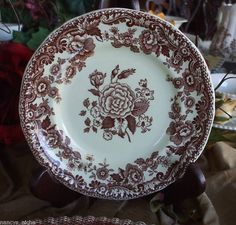 Vintage Spode Marina Brown Transferware Plate Cabbage Roses 6.5