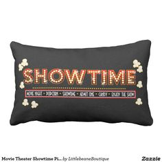 Movie Theater Showtime Pillow- red and gold