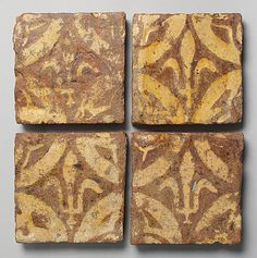 Four Two-Colored Tiles, Oxfordshire, England, late 14th century