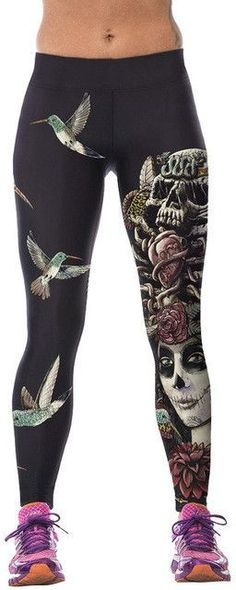 Fashion 3D Printed Women High Waist Fitness Pants Stretch Fitness Leggings