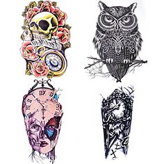 COKOHAPPY Large Temporary Tattoo , 4 Different Sheets Rose Skull Celtic Owl Clock Machine Butterfly for Men Women, 8.99 | 8.99 |   Easily customize your own unique style! Apply COKOHAPPY temporary tattoos anywhere on your body: ankle, wrist, back, chest, arm, nails, shoulder, fo... Check more at http://www.amazon.com/dp/B019XZO9T0/?tag=milliondol050