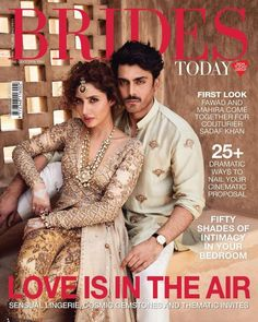 Humsafar couple Fawad Khan and Mahira Khan make for a stunning pair on the cover of Brides Today. The duo was decked in Fawad's wife Sadaf Khan's clothing label. Indian Wedding Fashion, Indian Fashion, Bollywood Stars, Bollywood Fashion, Pakistani Outfits, Indian Outfits, Indian Dresses, Maira Khan, Desi Wedding