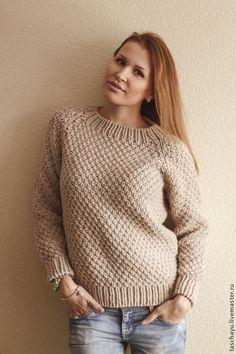 Купить Свитер. Простой и тёплый. - бежевый, пуловер вязаный, пуловер женский, пуловер спицами