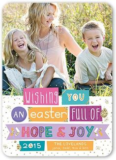 Glitter Word Strip 5x7 Stationery Card by Petite Lemon. Easter is here. Celebrate the season with a favorite photo and your own wishes in this stylish Easter card.