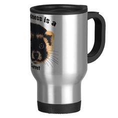 Happiness is a Ferret 15 Oz Stainless Steel Travel Mug
