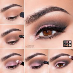 """Maryam Maquillage French Nude Tutorial Lancôme for HSN Limited Edition Palette: 1.Apply primer and """"Chic"""" onto the crease area and lower lash line 2.Apply """"Vintage"""" directly in the fold and lower lash line and blend out with the previous shadow 3.Apply """"Exhibition"""" to the outer lid and """"Pink Pearls"""" to the inner lid and corner 4.Apply """"Clock Strikes 12"""" to the outer corner 5.Add """"Honeymoon"""" onto the brow bone and inner corner as a highlight 6.Add liner, mascara and falsies to complete the…"""