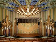 Martin Woldson Theater at the Fox, Spokane, WA. The beautiful Art Deco 1931 theater was restored in 2000. In addition to the wonderful Art Deco murals, the original hand-painted fire curtain was restored. [1st of two pins]
