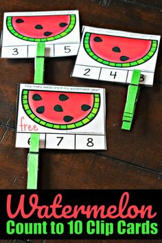 🍉 FREE Watermelon Count to 10 Clip Cards