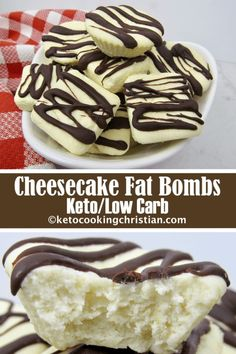 Fat Bombs - Keto and Low Carb If you like cheesecake and are looking for a quick high fat snack to satisfy your sweet tooth, you will love these! Just a few simple steps and you will have wonderful little bites of cheesecake goodness! Paleo, Lchf, Cheesecake Fat Bombs Keto, Keto Postres, Low Carb Meal, Cena Keto, Desserts Keto, Simple Keto Desserts, Keto Snacks