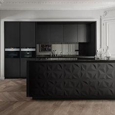 Gallery of Wall Panels - Triangles - 5 Black Kitchen Decor, Kitchen Room Design, Modern Kitchen Design, Interior Design Kitchen, Modern Interior Design, Interior Office, Kitchen Colors, Black Kitchens, Home Kitchens
