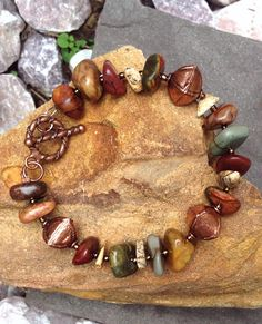 Jasper nugget bracelet with copper