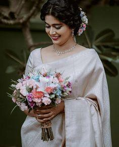 Christian Wedding Dress, Christian Bridal Saree, Christian Bride, White Saree Wedding, White Bridal, Bridal Silk Saree, Organza Saree, Saree Jewellery, Neutral Wedding Colors
