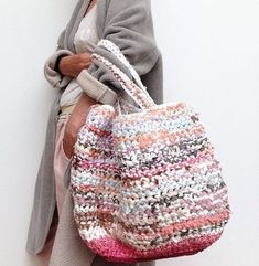 Items similar to Handmade durable bag/shopping bag of recycled strips natural materials/fabric. Crocket bag with fabric strips. OOAK on Etsy Love Crochet, Crochet Yarn, Crochet Pattern, Hand Knit Bag, Plastic Bag Crafts, Plastic Shopping Bags, Handmade Purses, Fabric Strips, Crochet Purses
