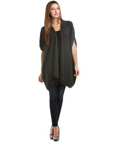 'Ruana' Charcoal Cashmere Sweater