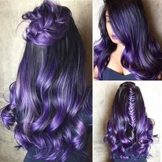 25 Purple Ideas to Try in Purple hair color ideas are in right now, and what better these feminine purple hair? Purple hair colors are an excellent choice to try in 2019 beca…, - Hair Color Hair Color Purple, Hair Color For Black Hair, Cool Hair Color, Blue Hair, Black To Purple Ombre, Violet Hair, Gray Hair, Light Purple, Brown Hair