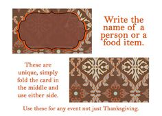 Fall Autumn Brown Thanksgiving Tent Place by InvitesandDelites