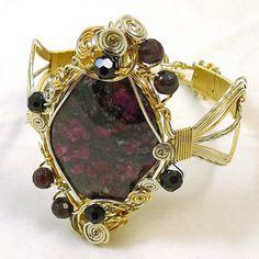 Eudialyte and Garnet Fancy Wire Bangle by #ShazzabethCreations, $300.00 #jetteam #jewelryonetsy