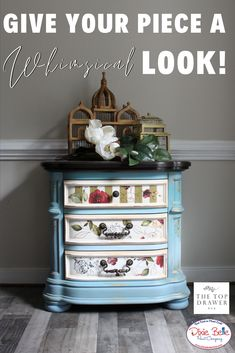 Learn how to give your piece a whimsical look using Dixie Belle Paint in Dusty Blue, Haint Blue, and Peacock! Blue Painted Furniture, Art Furniture, Upcycled Furniture, Furniture Projects, Furniture Makeover, Diy Projects, Haint Blue, Dixie Belle Paint, Mineral Paint