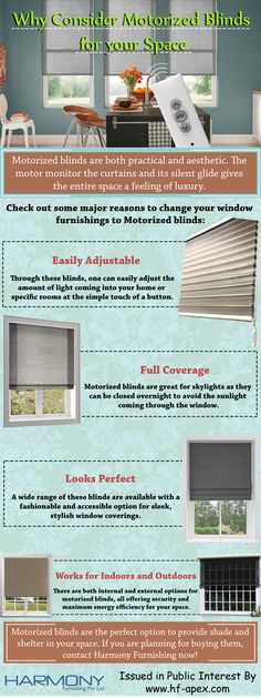 Motorized blinds are both practical and aesthetic. The motor monitor the curtains and its silent glide gives the entire space a feeling of luxury. Check out the infographic for more details.