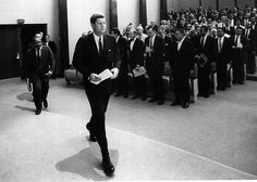 Facing The PressPresident John F. Kennedy arrives for a press conference on August 30, 1961 in Washington