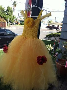 Belle Inspired tutu dress (not so much mesh at the top with yellow tulle shoulders would look better)