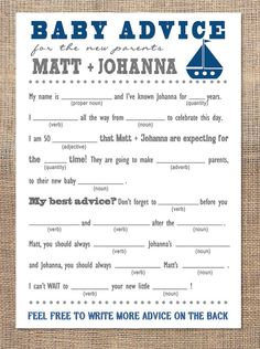 Baby Shower Advice Cards - Mad Libs (Sail Boats). $20.00, via Etsy.