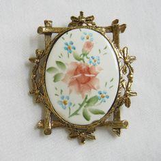 Vintage Framed Hand Painted Porcelain Floral by MyVintageJewels, $20.00 #TeamLove #vintage #jewelry #Fashion #etsyretwt