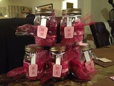 Mani/Pedi Mason Jars: What a great idea for a girls night or spa party favor. So many different themes could be done :)