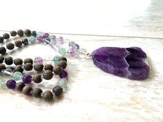 Rainbow Fluorite and Amethyst Mala Beads, Amethyst Mala Necklace, Purple Mala Beads, Gemstone Prayer Beads, Wood Beaded Mala, Yoga Necklace - pinned by pin4etsy.com