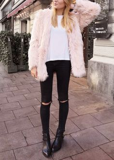 Pink fluff + black.