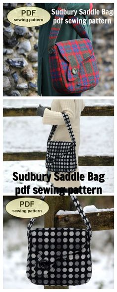 """This is a PDF sewing pattern for the 1940s-inspired """"Sudbury Saddle Bag"""", which combines eye-catching asymmetrical styling with a large practical size and shape. It evokes the simple elegance of the designs of the wartime years."""