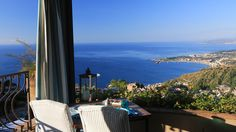 From its vantage point on a hill in uptown Taormina, Villa Ducale opens out onto a sweeping panorama of Mount Etna and the Ionian Sea.