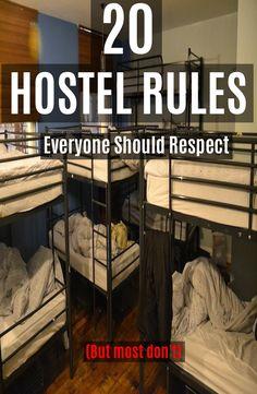 20 Hostel Rules Everyone Should Respect Europe Hostels, Costa Rica Travel, Bali Travel, Spain Travel, Travel Advice, Travel Tips, Travel Plan, Travel Hacks, Viajes