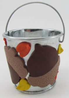 Leaves and nuts bucket by ClayHoliday on Etsy, $8.50