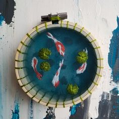 A koi pond on tulle, with 3 hoops. Details/process in comments. Cute Embroidery, Cross Stitch Embroidery, Embroidery Patterns, Machine Embroidery, Hungarian Embroidery, Embroidery Jewelry, Embroidery Hoop Art, Bordado Floral, Cross Stitching