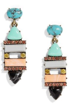 A multicolored mix of stones and crystals brings modern freshness to drop earrings sure to inspire second looks.