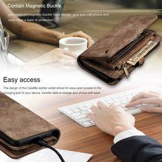 CaseMe iPhone 11 Pro Zipper Wallet Detachable 2 in 1 Case Coffee Iphone 7 Covers, Iphone 11, Iphone Cases, Leather Wallet, Pu Leather, Leather Cover, Leather Fashion, Pouch, Zipper