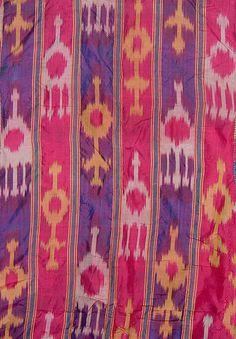 Detail, silk ikat textile, Uzbekistan, pre-1900.
