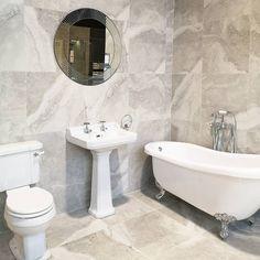 Bay 59. Westbury 610mm Pedestal & Basin, Georgia Basin taps, Westbury CC Toilet, Adare Slipper Bath, Georgia Bath Shower Mixer, Caracalla Silver Tile 59*59