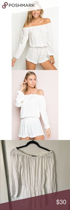 NWT White Brandy Melville Gabriella Romper NEW WITH TAGS Gabriella romper is THE item of the summer. Brandy Melville does it again with this perfect summer staple. No longer sold in stores, get this item fast. Wear it to any occasion ¡or! rock it as your new swimsuit cover up. Wear them alongside your favorite models, Scarlett Leithold and Alexis Ren, and be the envy of your friends' romper game this summer   *Offers are welcome* Brandy Melville Swim Coverups