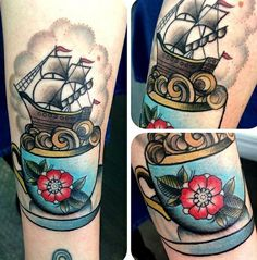 Love this ship in a teacup #InkedMagazine #teacup #ship #cute #inked #tattoos #tattooed