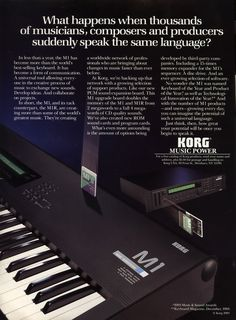 "korg m1 advertisement. Dave Sheppard used one of these M1 Korg with ""Ruby Red"" from 1989-1991"
