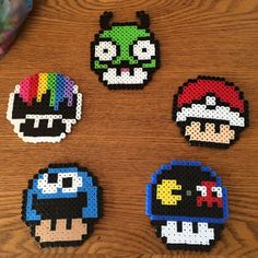 Mario mushrooms perler beads by sm0ke505 perler,hama,square pegboard,video games,nintendo, super mario bros,mushroom,