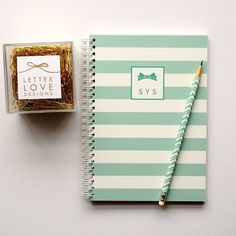 Personalized Notebook  Stripes  Choose your by LetterLoveDesigns, $26.00
