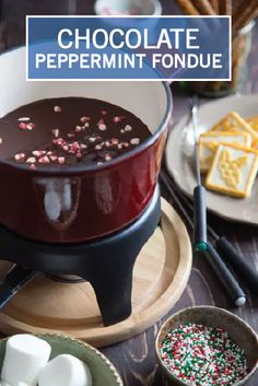 This easy Chocolate Peppermint Fondue recipe is perfect for the holidays. Serve it with a platter of cookies, chopped fresh fruit, pretzel sticks, and other treats for a truly gourmet Christmas party dessert.