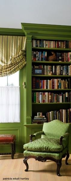 . Bookshelves, Bookcase, Tiffany Green, Patterned Chair, Create A Board, Green Home Decor, Eclectic Style, Colorful Decor, Shades Of Green
