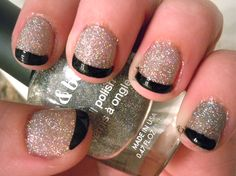 Nail polish by Forever21- mani by me :) of course, with black tips...  #nails  #holo #glitter