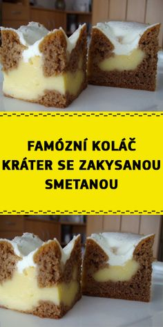 Sour Cream Cake, Czech Recipes, Cacao, Custard, Creme, French Toast, Sandwiches, Cheesecake, Brunch